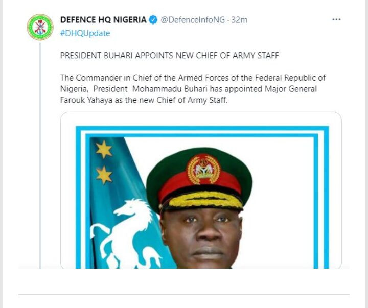 President Buhari appointments Major Gen. Faruok Yahaya as New chief of army staff